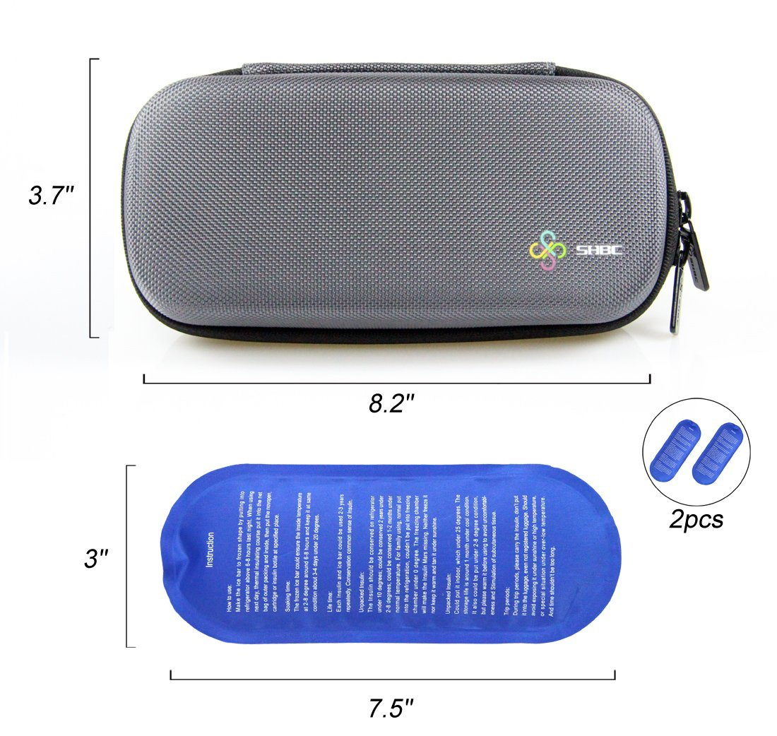 SHBC Insulin Cooler Travel Case For Diabetic Organize Medication Insulated Cooling Bag with 2 Ice Packs GRA Featured Image
